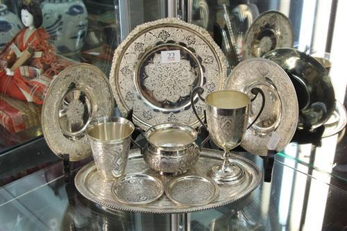 Persian Silver Engraved Wares (Weight - 1015g)