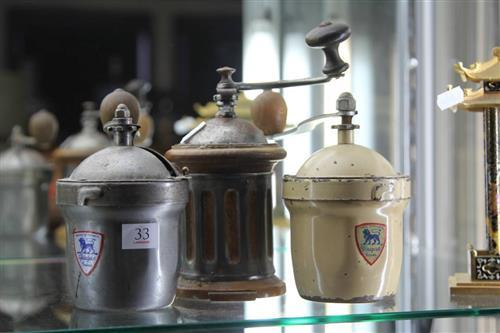White Enamelled Peugeot Coffee Grinder with a Fluted Example & Another