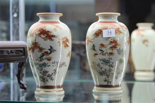 Satsuma Pair of Autumnal Vases