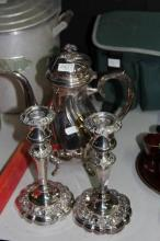 Silver Plated Pair of Candlesticks with a Hot Water Pot