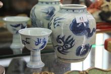 Blue & White Ming Style Dragon Stem Cup & Phoenix Vase