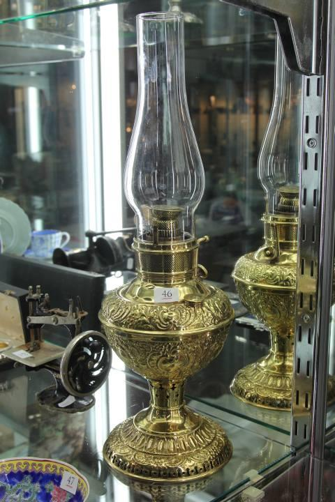 Gilt Copper American Kerosene Lamp