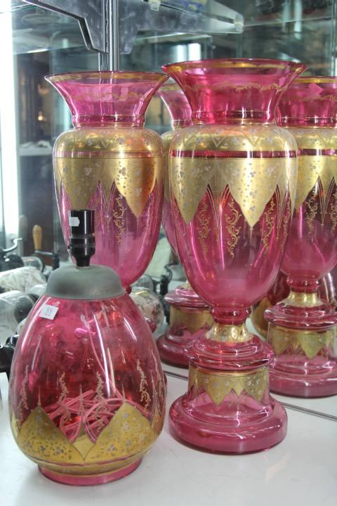 Cranberry Glass Pair of Vases with a Matching Vase (1 vase with crack)