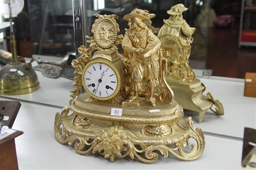 Gilt Metal Figural Mantle Clock