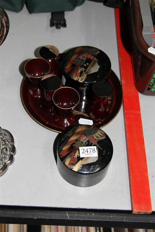 Oriental Lacquered Drink Suite with Similar Coasters