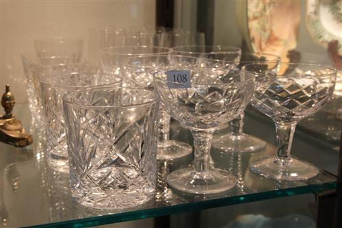 Stuart Crystal Set of Six Sherbet Glasses with Crystal incl. Royal Doulton Tumblers