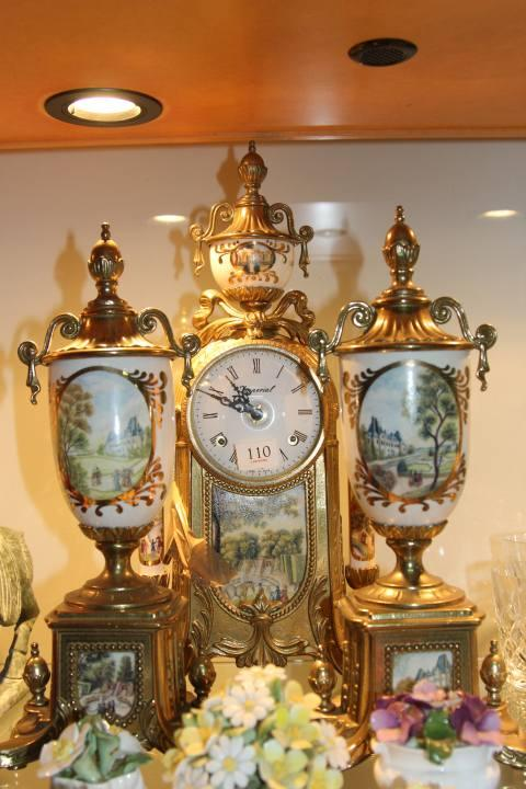 Gilt Metal Clock Garniture