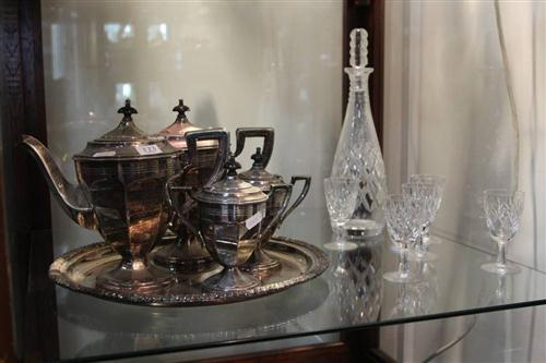 Silver Plated 4-Piece Tea & Coffee Setting with Crystal Drink Wares