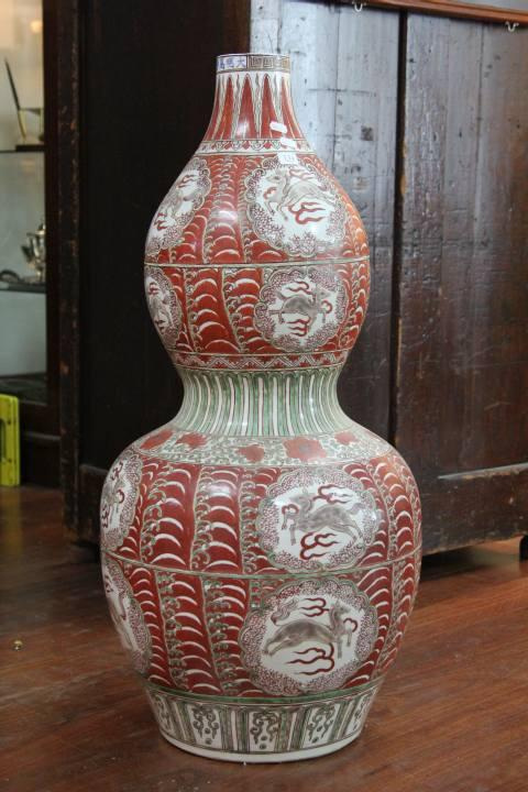 Wanli Marked Red & Green Gourd Vase