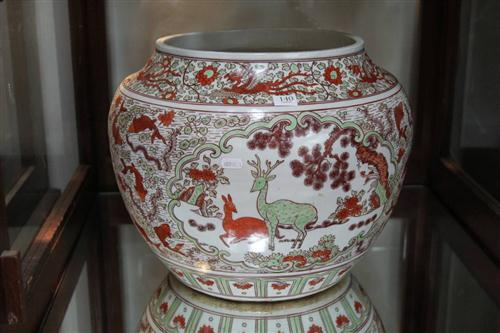 Wanli Marked Red & Green Painted Jar