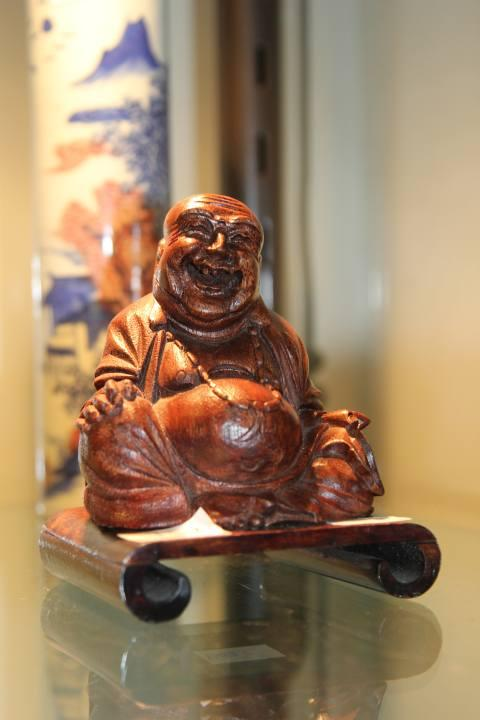 Chinese Bamboo Carved Buddha on Stand