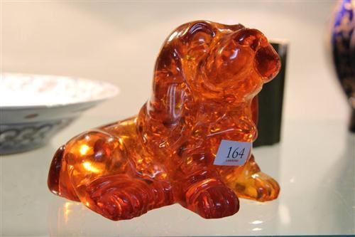 Amber Composition Dog Figure
