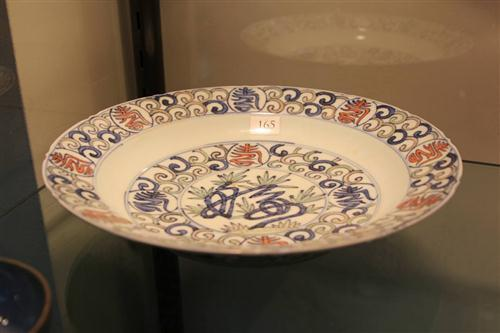Wanli Style Blue & White Famille Rose Plate