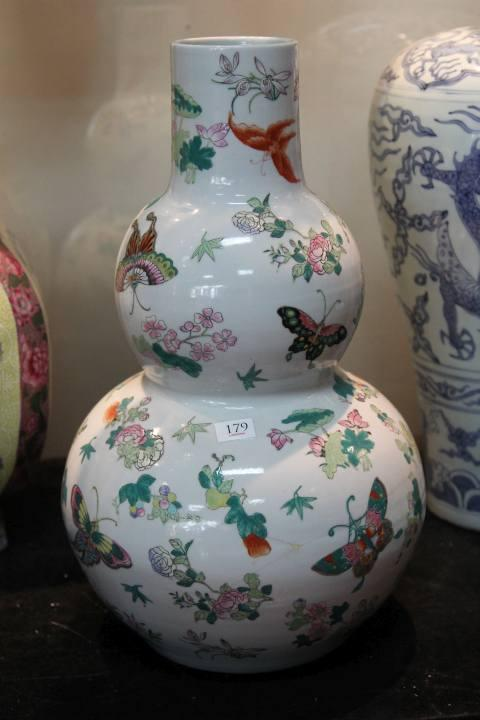 Republic Famille Rose Gourd Vase