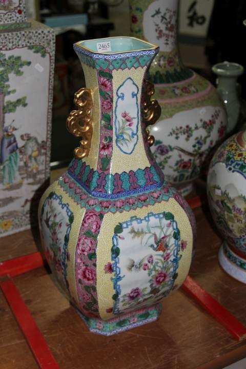 Double Handled Famille Rose Vase