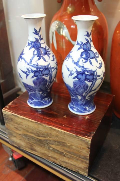 Chia Ch'ing Style Pair of Blue & White Peach Vases