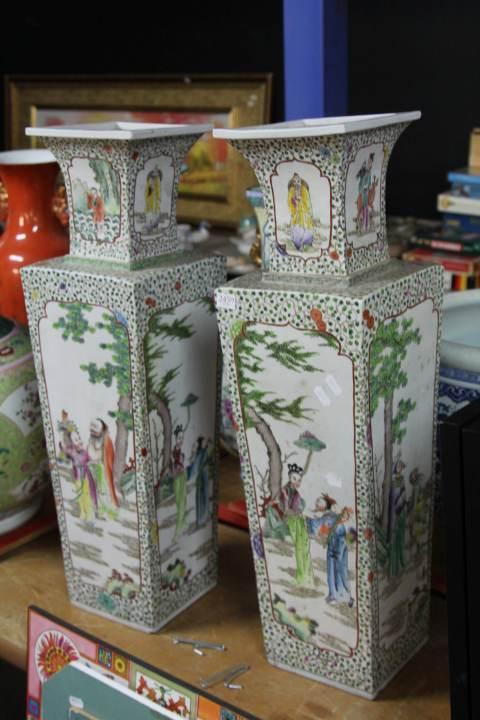 Chinese Rectangular Porcelain Pair of Vases