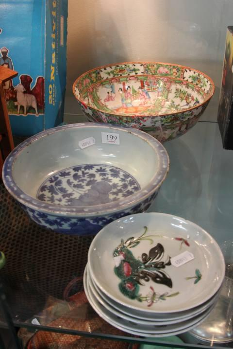 Famille Rose Bowl (Restored) with Other Chinese Bowls
