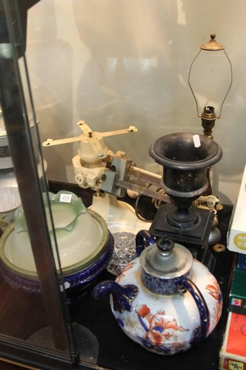 Brass Lamp with Various Decorative Wares incl. Marble Urn on Stand (AF)