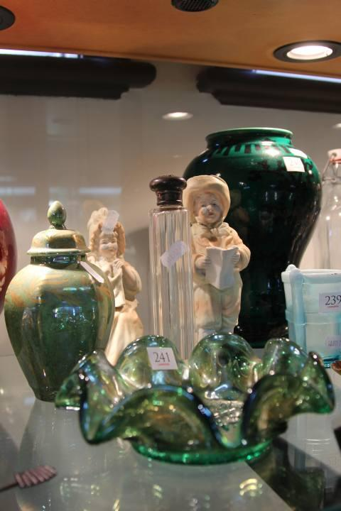 English Hallmarked Sterling Silver Topped Perfume Bottle with Other Wares incl. Green Carnival Glass