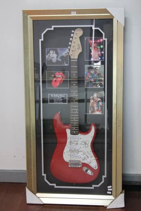 Rolling Stones Framed & Signed Guitar