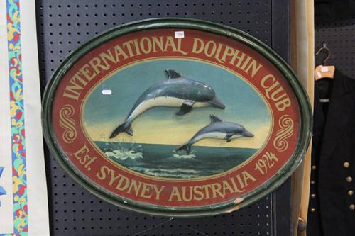 Timber 'International Dolphin Club' Plaque