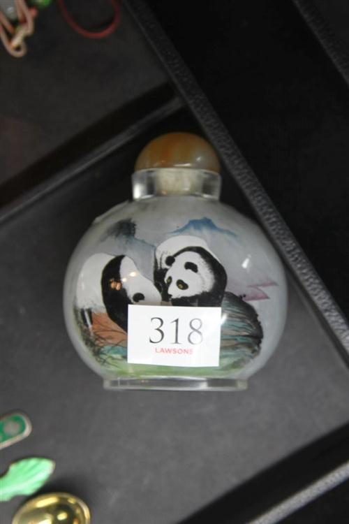 Large Glass Snuff Bottle with Pandas