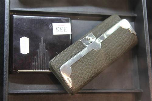 English Hallmarked Sterling Silver & Leather Purse with a Bakelite Cigarette Purse