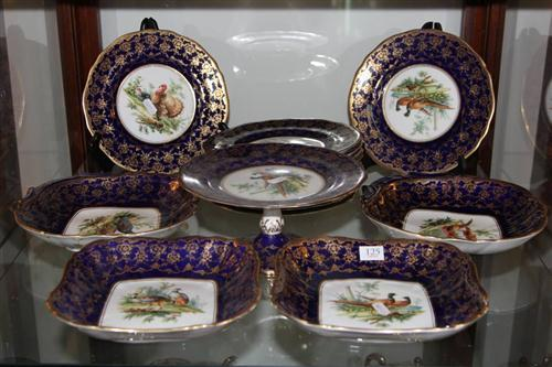 Continental Hand Painted Plates Depicting Birds