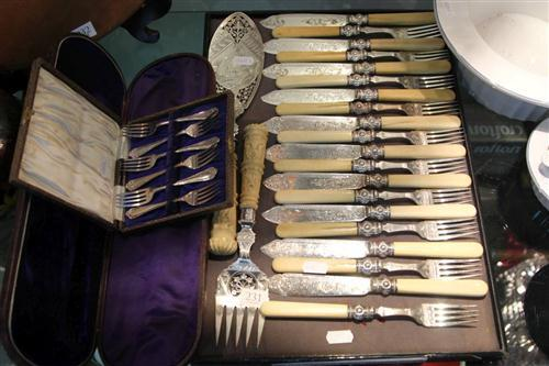 Silver Plated Cutlery Together With Bone Style Handled Fish Servers
