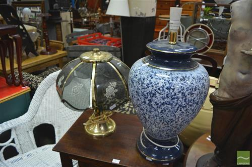 Large Blue & White Glazed Lamp with a Parlour Lamp