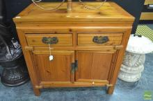 Chinese Two Door Two Drawer Cabinet on Raised Bracket Feet