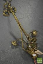 French Brass Three Branch Chandelier