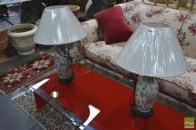 Pair of Floral Urn Form Lamps (4326)