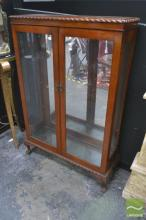 Raised Display Cabinet with Pie Crust Edge on Cabriole Legs