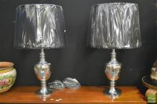 Pair of Aluminium Table Lamps ((5785)