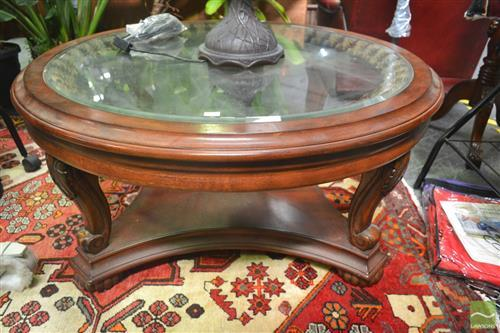 Circular Coffee Table with glass insert top