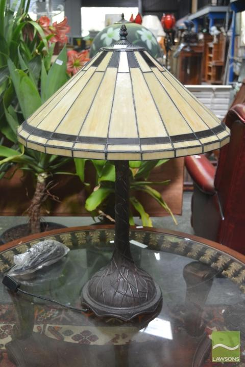 Pair of Leadlight Shade Table Lamps & Another Larger Example