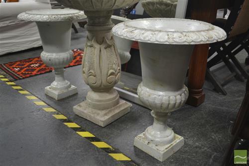 Pair of White Cast Iron Urns