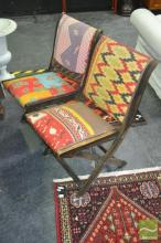 Set of Four American Patch Work Folding Chairs