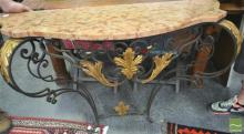 Early 20th Century Iron Top Console Table (Certificate In Office)