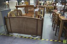 Early 20th Century J&J Kohn Beech Double Bed, with turned posts & rails, the panels with alternating coloured stripes