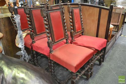Set of Six 19th Century Carved Oak Chairs, with barley twist backs and legs, upholstered in red fabric (one back damaged)