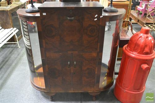 Raised Timber Drinks Cabinet with Drop Front