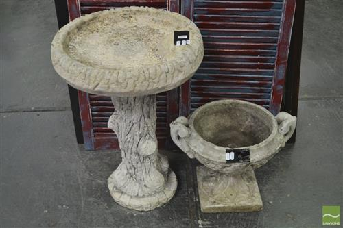 Concrete Form Bird Bath & Small Urn