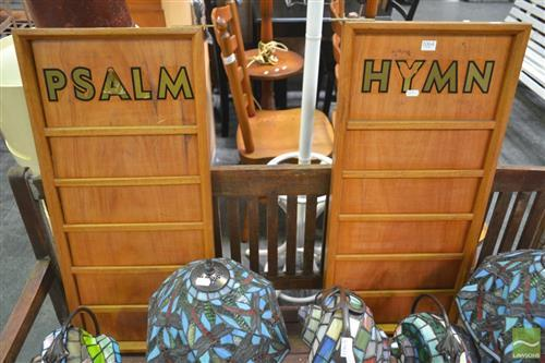 Pair of Timber Church Hymn Boards