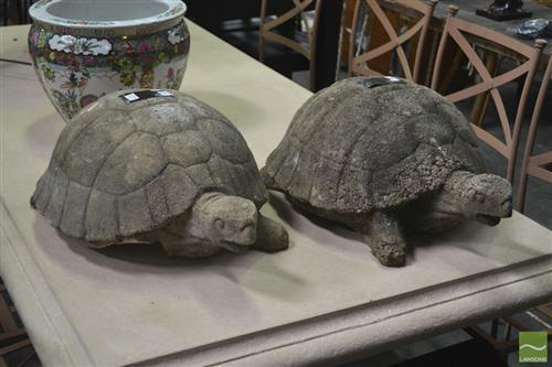 Pair of Concrete Turtle Figures (leg missing on one)