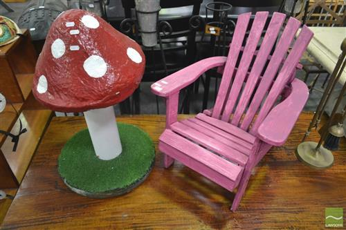 Small Painted Kids Chair & Mushroom Figure