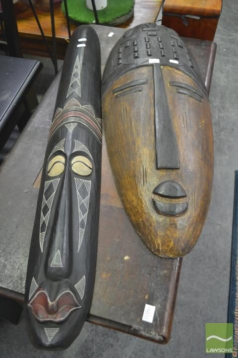 Two Timber Tribal Masks