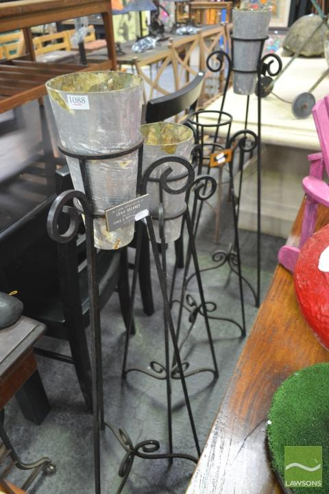 Set of Four Iron Flower Stands